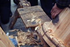 Elaborazione di legno del secchio Fotografie Stock