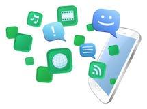 Elaborazione multitask con il telefono mobile Immagine Stock