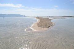 Elafonisi, île des cerfs communs, est allumé comme le paradis Images libres de droits