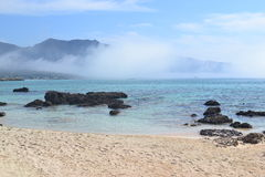 Elafonisi, île des cerfs communs, est allumé comme le paradis Image libre de droits