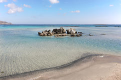 Elafonisi beach in Crete. Turquoise water. Greece Stock Images