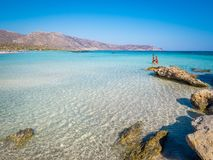 Elafonisi, Crete, Greece, a paradise beach with turquoise water, an island located close to the island of Crete. Crete, Greece - Jul 14, 2018: Elafonisi, a royalty free stock photography