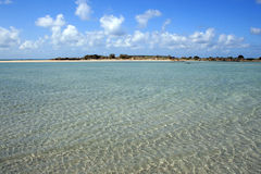 Elafonissi beach. Clear shallow sea of famous place of Crete Island, Greece Stock Images