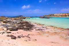 Elafonissi beach with pink sand on Crete Royalty Free Stock Photography