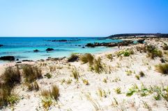 Elafonissi beach, with pinkish white sand and turquoise water, island of Crete, Greece Royalty Free Stock Images