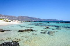 Elafonissi beach, with pinkish white sand and turquoise water, island of Crete, Greece Stock Photo