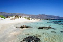 Elafonissi beach, with pinkish white sand and turquoise water, island of Crete, Greece Stock Image