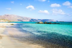 Elafonissi beach, with pinkish white sand and turquoise water, island of Crete, Greece Royalty Free Stock Image
