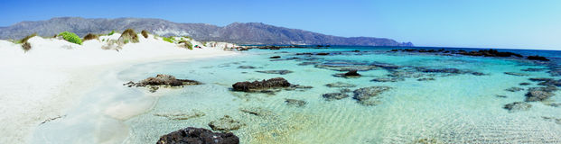 Elafonissi beach, with pinkish white sand and turquoise water, island of Crete, Greece Royalty Free Stock Photos