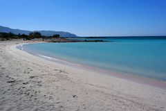 Elafonissos beach, crete, greece. Picture of elafonissos / simos beach in greece without anybody. famous beach located in crete near chania. natural reserve park stock photography