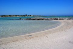 Elafonissos beach, crete, greece. Picture of elafonissos / simos beach in greece without anybody. famous beach located in crete near chania. natural reserve park stock photo