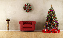 Elagant room with xmas decoration Royalty Free Stock Photo