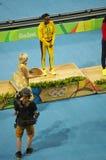 Elaine Thompson, Jamaicaanse spoor en gebiedssprinter op een Olympisch podium Stock Afbeeldingen