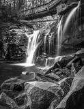 Elakala Waterfalls. Black and white scenic view of Elakala Waterfalls in Blackwater Falls State Park, West Virginia, U.S.A Royalty Free Stock Photography