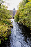 Elan river and the of the dam of the Pen-y-Garreg Reservoir. Royalty Free Stock Image