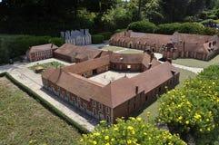 Elancourt F, 16 Juli: Haras du Pin in de Miniatuurreproductie van Monumentenpark van Frankrijk Royalty-vrije Stock Foto's