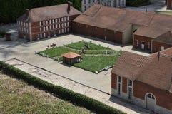 Elancourt F, am 16. Juli: Haras du Pin in der Miniaturwiedergabe von Monumenten parken von Frankreich Lizenzfreie Stockfotos