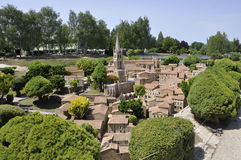 Elancourt F, 16 Juli: Historische Stad in de Miniatuurreproductie van Monumentenpark van Frankrijk Stock Foto
