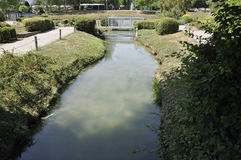 Elancourt F, 16 Juli: Landschap Reizen in de Miniatuurreproductie van Monumentenpark van Frankrijk Royalty-vrije Stock Foto's