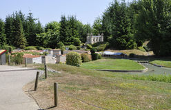Elancourt F, am 16. Juli: Lyon-Ansicht in die Miniaturwiedergabe von Monumenten parken von Frankreich Stockbilder