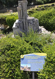 Elancourt F, am 16. Juli: Monument de la Turbie im Dorf Provencal in der Miniaturwiedergabe von Monumenten parken von Frankreich Stockfotografie