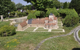 Elancourt F,July 16th: Abbaye de Fontgombault in the Miniature Reproduction of Monuments Park from France stock photography