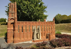 Elancourt F,July 16th: Cathedrale Sainte Cecille D`Albi in the Miniature Reproduction of Monuments Park from France. Cathedrale Sainte Cecille D`Albi in the stock photo