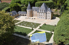 Elancourt F,July 16th: Chateau d`Azay-le-Ferron in the Miniature Reproduction of Monuments Park from France stock photos
