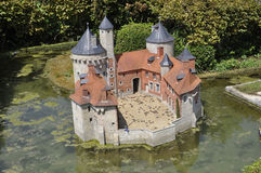 Elancourt F,July 16th: Chateau d`Olhain in the Miniature Reproduction of Monuments Park from France stock photography