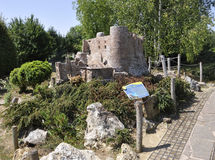 Elancourt F,July 16th: Chateau de Murol in the Miniature Reproduction of Monuments Park from France stock photo