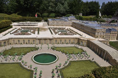 Elancourt F,July 16th: Chateau de Versailles in the the Miniature Reproduction of Monuments Park from France. Chateau de Versailles in the Miniature Reproduction royalty free stock photography