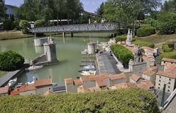 Elancourt F,July 16th: Port de la Rochelle in the the Miniature Reproduction of Monuments Park from France. Port de la Rochelle in the Miniature Reproduction of stock image
