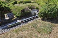 Elancourt F, le 16 juillet : Train dans la la reproduction miniature du parc de monuments des Frances Image stock