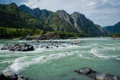 Elanda riffle on the Katun river in the Altai Mountains. Katun river on the background of mountains (The Altai Mountains Royalty Free Stock Photo