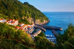 Elantxobe village and small port. In Basque Country stock photography
