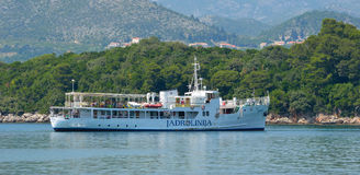 The Elaphite Island ferry docking at Donje Celo on the Island of Kolocep. Stock Photography
