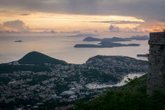 Elaphiti海岛的看法日落的 免版税图库摄影
