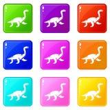 Elasmosaurine dinosaur icons 9 set Royalty Free Stock Photos