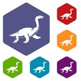 Elasmosaurine dinosaur icons set hexagon Royalty Free Stock Images