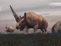 Elasmotherium mammal dinosaurs - 3D render Royalty Free Stock Image