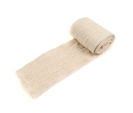 Elastic ACE compression bandage warp. Unwrapped, isolated over white background royalty free stock photography