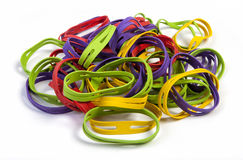 Elastic X Band rubber bands, on white Stock Image