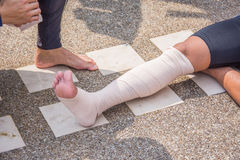Elastic bandage wrab around right leg royalty free stock image