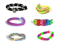 Elastic and colorful rainbow loom bracelet Royalty Free Stock Images