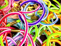 Elastic hair bands. Close up view of elastic hair bands Royalty Free Stock Image