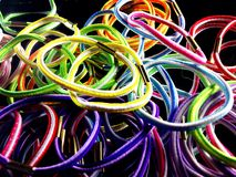 Elastic hair bands. Close view of colorfull elastic hair bands Royalty Free Stock Images