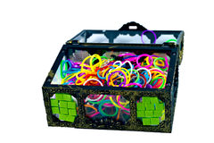 Elastic loom bands color full in side box isolate on white backg. Round Royalty Free Stock Image