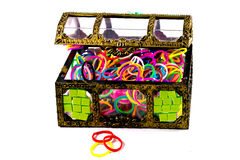 Elastic loom bands color full in side box isolate on white backg. Round Royalty Free Stock Photos