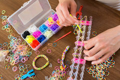 Elastic  loom bands for needlework Royalty Free Stock Photography