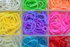 Elastic rainbow loom bands Royalty Free Stock Images